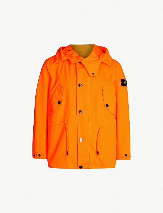 STONE ISLAND Hooded twill jacket at Selfridges