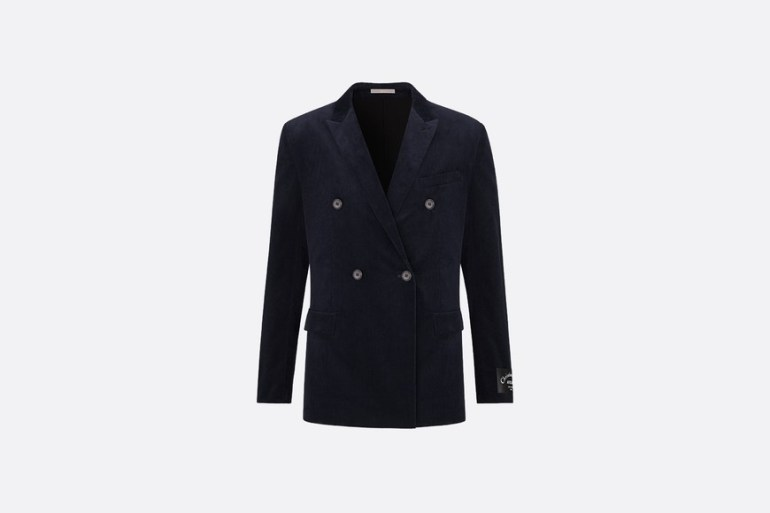 """Stretch Cotton Double-Breasted Jacket, """"Signature"""" Embroidery at Dior"""