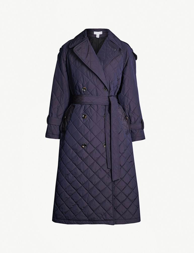 Topshop Boutique waist-tie quilted trench coat at Selfridges