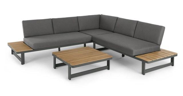 made com Topa Corner lounge unit Acacia and metal