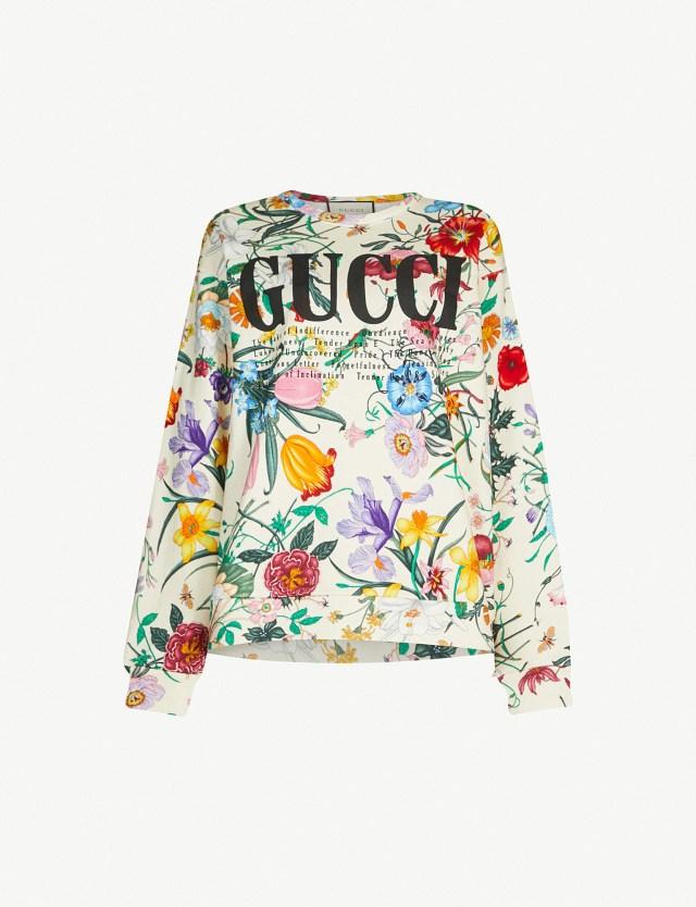 GUCCI Floral Print Cotton Jersey Sweatshirt at Selfridges