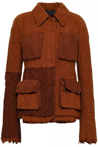 the outnet HAIDER ACKERMANN two-tone paneled cotton-twill and canvas jacket