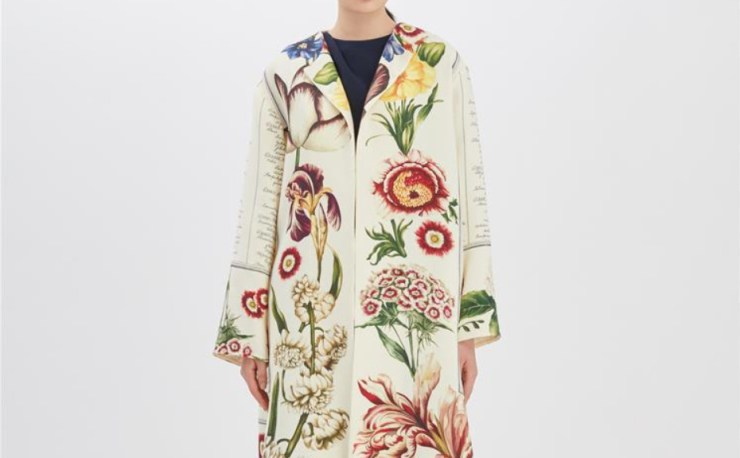 Oscar de la Renta Floral calligraphy coat