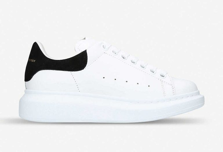 Selfridges shoes Alexander McQueen runway leather and suede platform trainers
