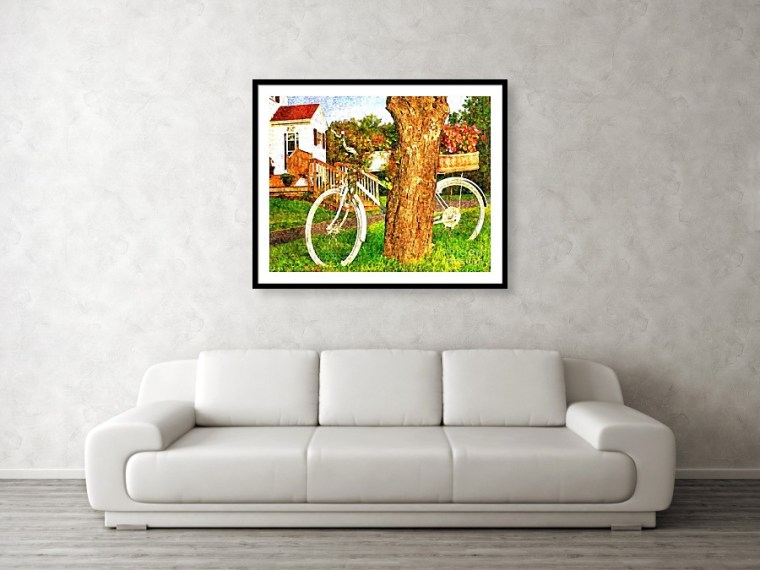 Bike with flowers - framed art print by Tatiana Travelways