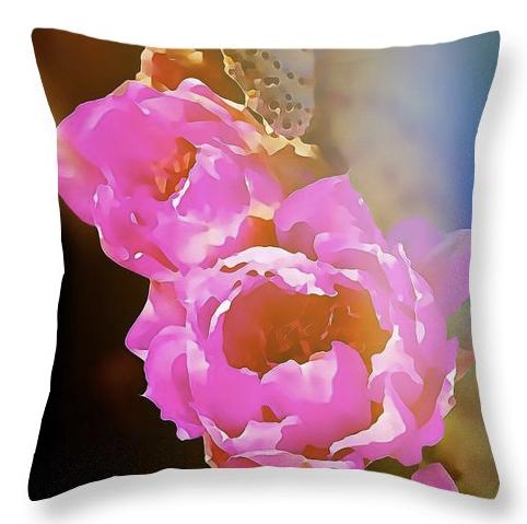 Pink Cactus Flowers - Digital Art Throw Pillow by Tatiana Travelways