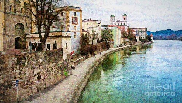 Danube River at Passau, Germany - digital art print by Tatiana Travelways