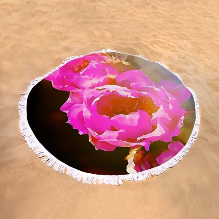 Pink cactus flowers - round beach towel by Tatiana Travelways