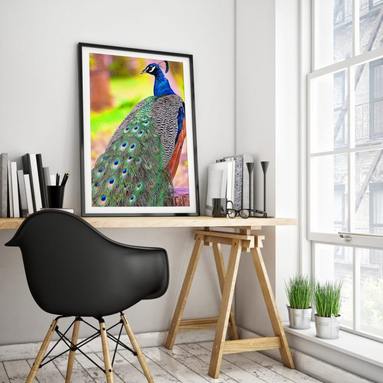 Majestic peacock framed art print for home decor, by Tatiana Travelways