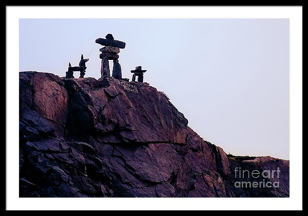 Inukshuk family welcoming you to St. Lewis, Labrador, Canada - Framed art print by Tatiana Travelways