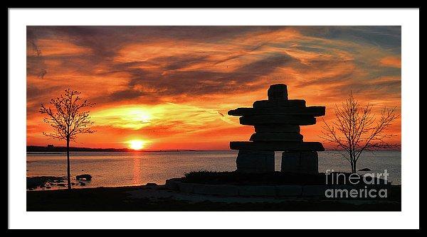 The Guardian - Inukshuk statue on Lake Ontario, Canada - Framed art print by Tatiana Travelways