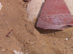 Pottery sherds beside Khasekhemwy enclosure by Gigal