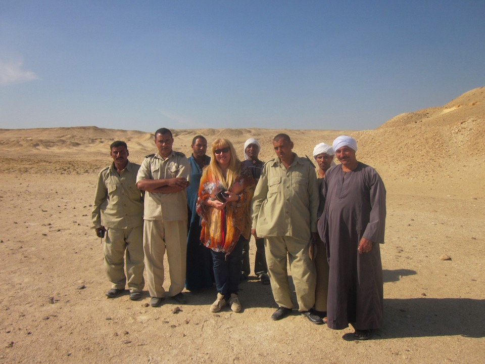 Antoine Gigal with an egyptian team in her work field