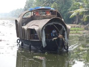 Viele solche Hausboote waren unterwegs in den Backwaters...