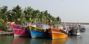 Fischerboote, vielfach schoen bunt...