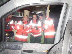 Die Rot Kreuz Tee Schenkerinnen auf der Autobahn...