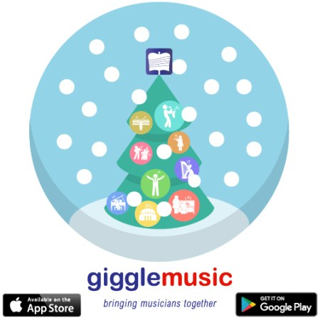 gigglemusic - social network for classical musicians - image displaying a snow globe with a Christmas tree inside. The baubles have icons of musicians