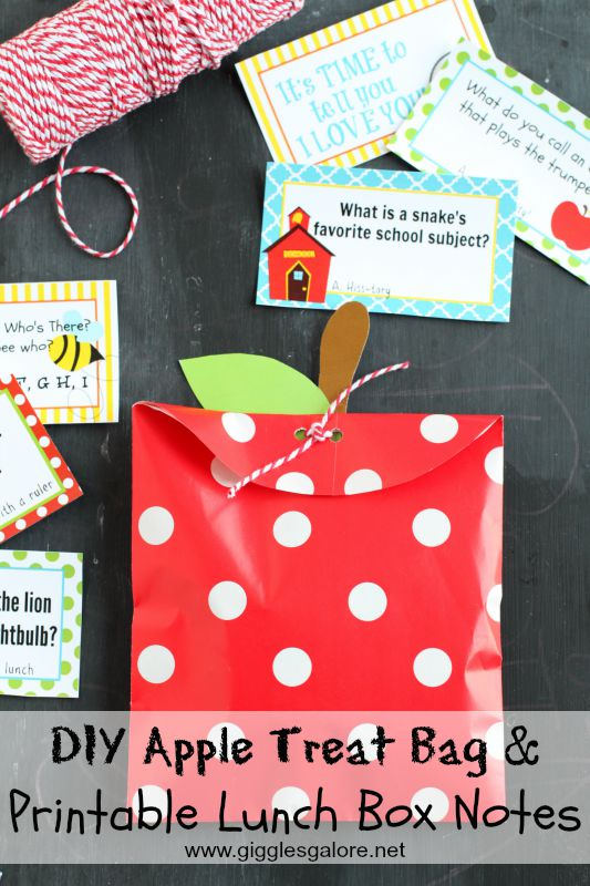 DIY Apple Treat Bag & Printable Lunch Box Notes_Giggles Galore_via Mandy's Party Printables