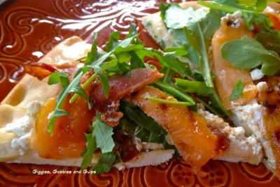 Cantaloupe Bacon Pizza with Goat Cheese and Arugula