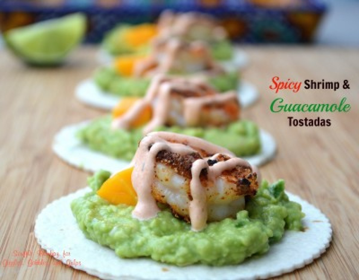 Spicy Shrimp & Guacamole Tostadas