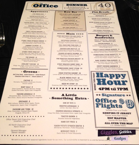 The Office Bar Menu