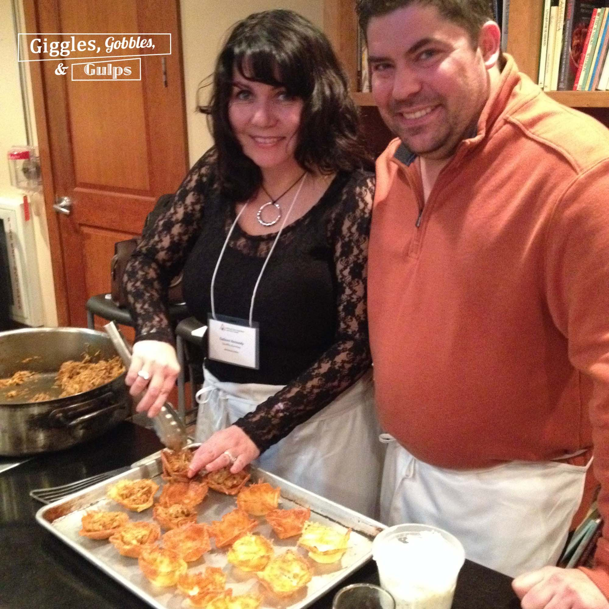 My dear friend, Colleen ,of Souffle Bombay cooking the cheese cups with her husband, John.