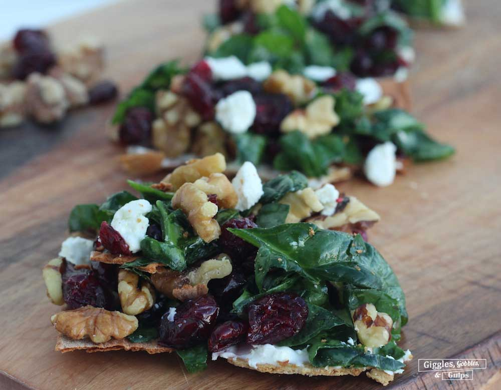 cranberry spinach walnut flatbread