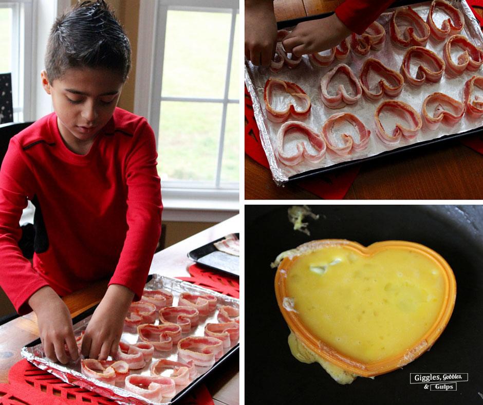 heart shaped eggs bacon