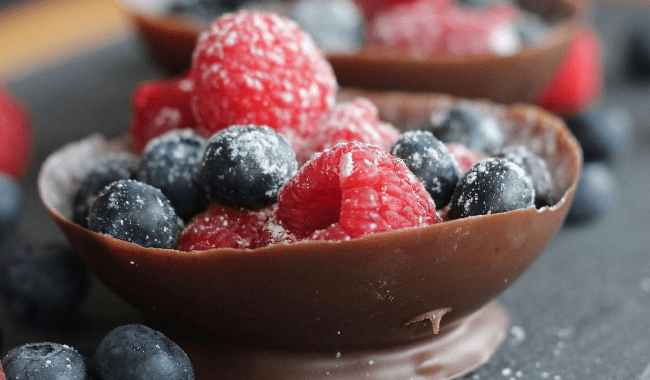 Balloon Chocolate Bowls with Fresh Berries