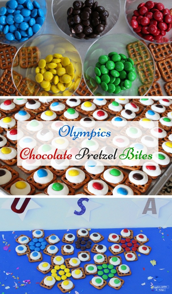olympics chocolate pretzel bites collage