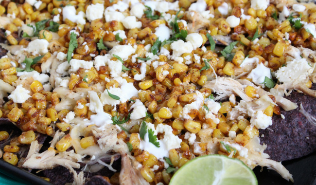 Chicken and Mexican Street Corn Nachos