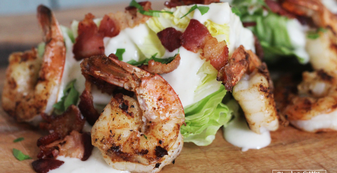 Grilled Shrimp Iceberg Lettuce Wedge Salad