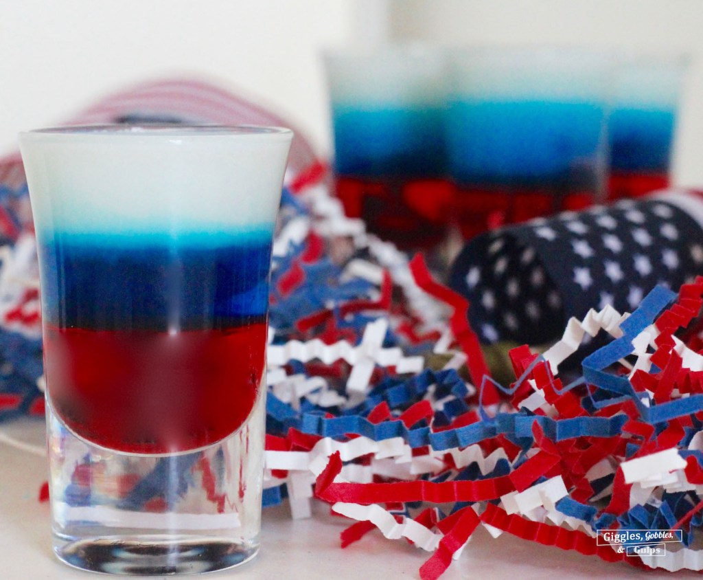 red white and blue layered shot