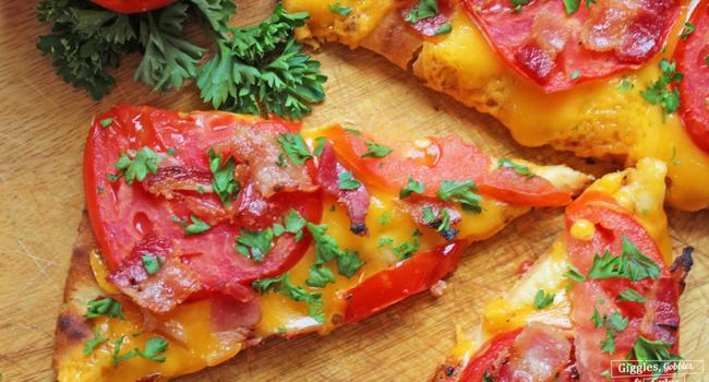 Cheesy Jersey Tomato Bacon Flatbread