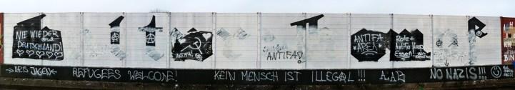 Antifa group (anti-fascist group) misunderstood the previous artwork, Essen, Germany, 2012
