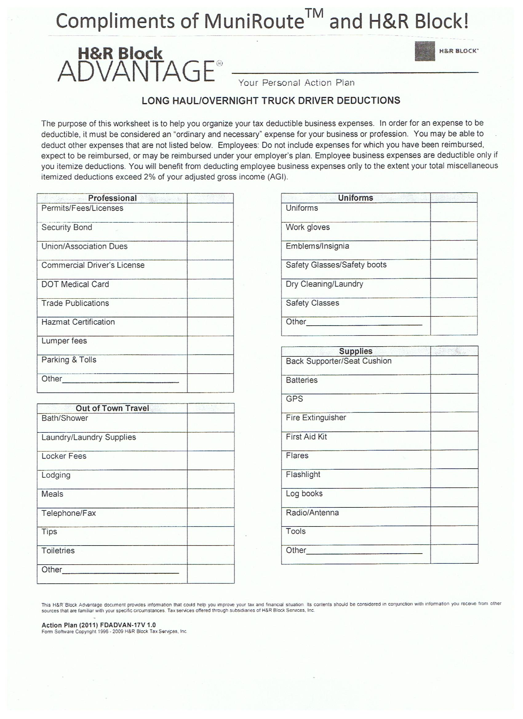 31 Trucker Tax Deduction Worksheet