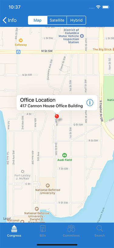 Congress for iOS Congress Member Office Location Screen