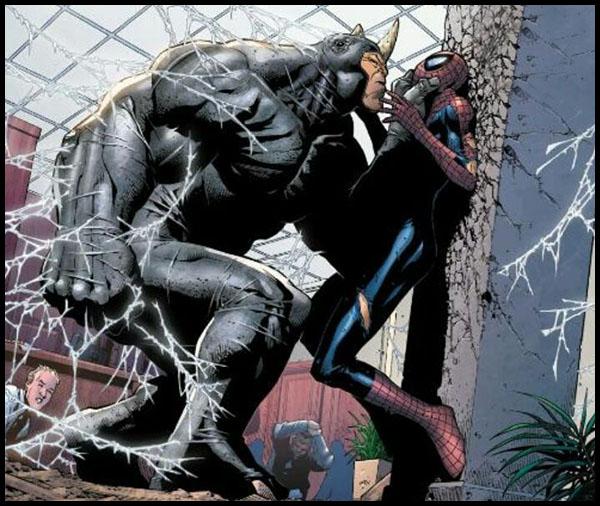 Рино / Носорог и человек паук комикс