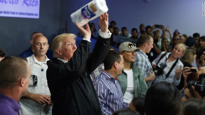 Trump tosses paper towels at needy Puerto Ricans after the devastation of hurricane Maria