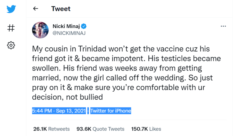 My cousin in Trinidad won't get the vaccine cuz his friend got it & became impotent. His testicles became swollen. His friend was weeks away from getting married, now the girl called off the wedding. So just pray on it & make sure you're comfortable with ur decision, not bullied 5:44 PM · Sep 13, 2021·Twitter for iPhone