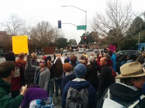 Noon No-to-Trump demonstration at the Clock Tower, downtown Santa Cruz