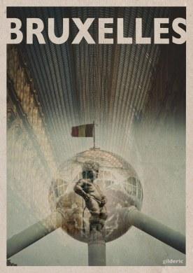 Bruxelles - travel vintage poster - Photo et design : Gilderic