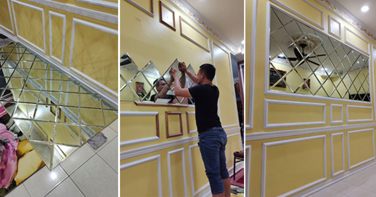 wainscoting cermin dinding