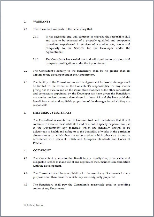 Collateral Warranty Template to Download