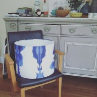 Blue pattered large drum