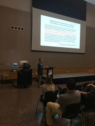Lisa Pratt presenting her keynote talk about Mars.