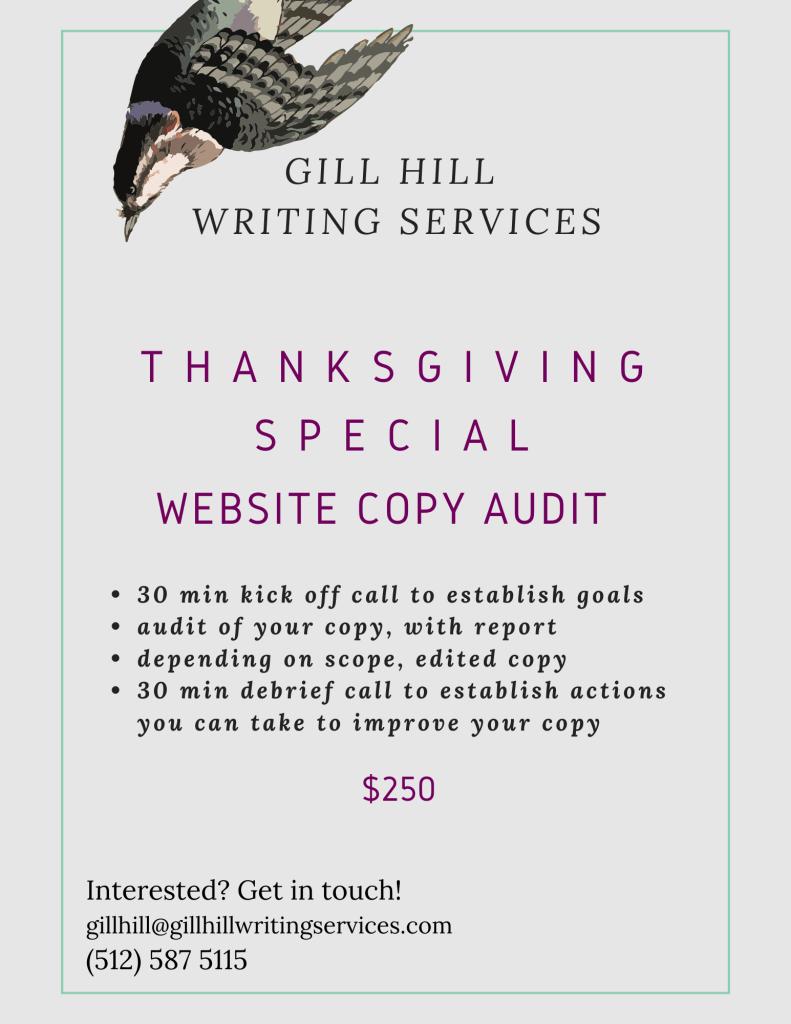 Thanksgiving Special - website copy audit