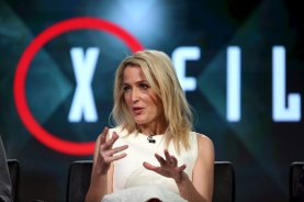 """Actress Gillian Anderson of """"The X Files"""" speaks during the Fox Network presentation at the Television Critics Association (TCA) winter press tour in Pasadena, California January 15, 2016. REUTERS/David McNew"""