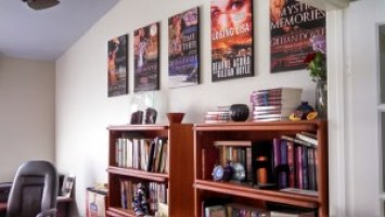 My book covers as wall art in my office.