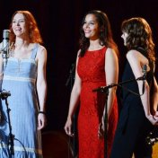 "Gillian Welch, Rhiannon Giddens, and Carey Mulligan sing ""Nobody But The Baby"" at Town Hall, NY. Sept. 29, 2013"